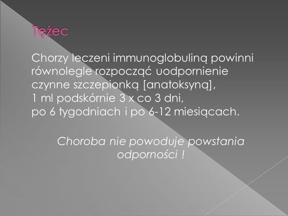 Chorzy leczeni immunoglobuliną powinni równolegle rozpocząć uodpornienie czynne szczepionką [anatoksyną], 1 ml podskórnie 3 x co 3 dni, po 6 tygodniach i po 6-12 miesiącach.