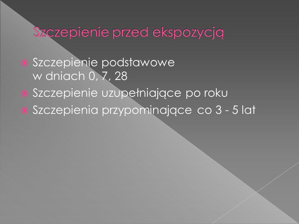  Szczepienie podstawowe w dniach 0, 7, 28  Szczepienie uzupełniające po roku  Szczepienia przypominające co 3 - 5 lat