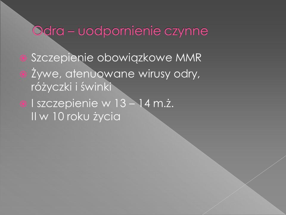  Szczepienie obowiązkowe MMR  Żywe, atenuowane wirusy odry, różyczki i świnki  I szczepienie w 13 – 14 m.ż. II w 10 roku życia