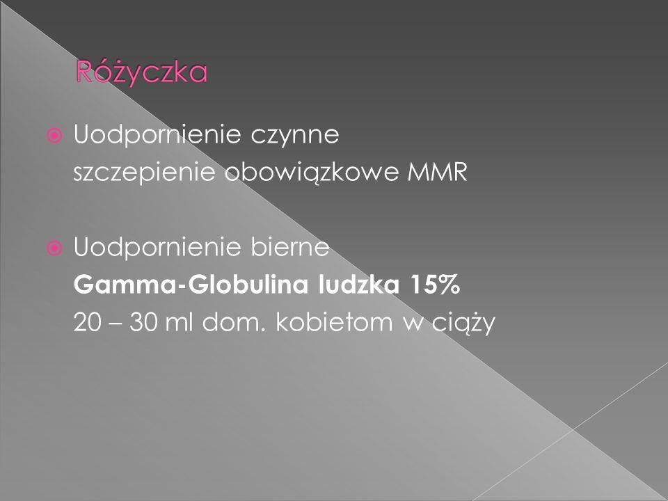  Uodpornienie czynne szczepienie obowiązkowe MMR  Uodpornienie bierne Gamma-Globulina ludzka 15% 20 – 30 ml dom. kobietom w ciąży