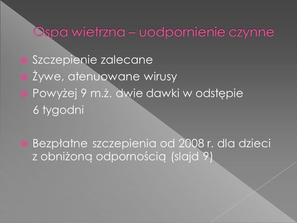  Szczepienie zalecane  Żywe, atenuowane wirusy  Powyżej 9 m.ż. dwie dawki w odstępie 6 tygodni  Bezpłatne szczepienia od 2008 r. dla dzieci z obni