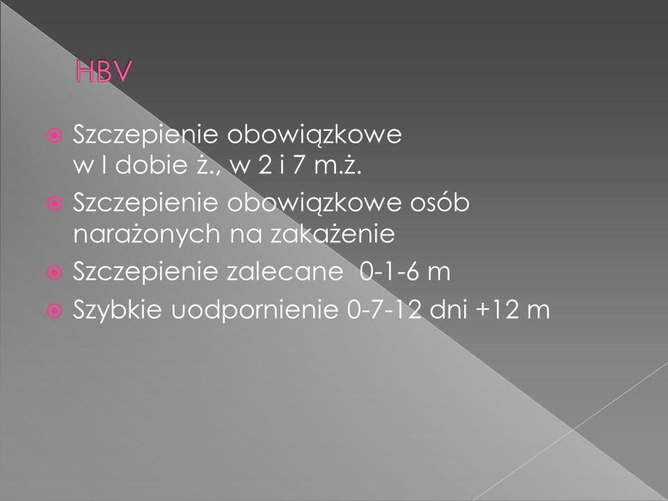  Szczepienie obowiązkowe w I dobie ż., w 2 i 7 m.ż.