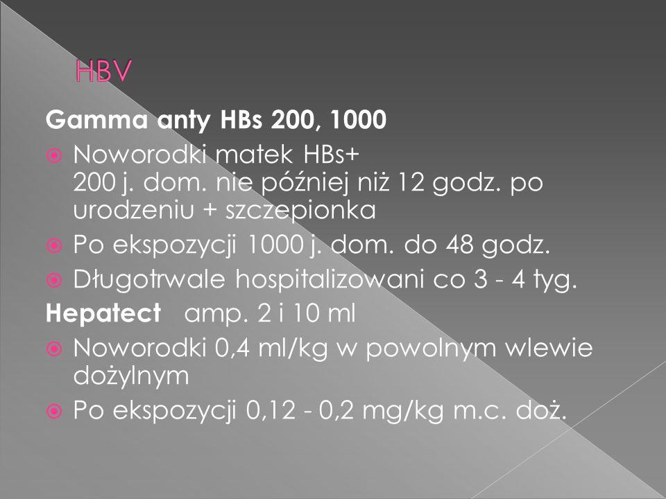 Gamma anty HBs 200, 1000  Noworodki matek HBs+ 200 j. dom. nie później niż 12 godz. po urodzeniu + szczepionka  Po ekspozycji 1000 j. dom. do 48 god