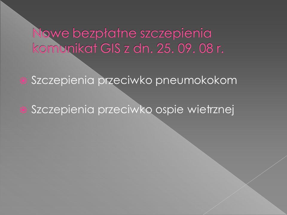  Szczepienia przeciwko pneumokokom  Szczepienia przeciwko ospie wietrznej