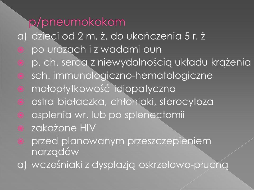 a)dzieci od 2 m. ż. do ukończenia 5 r. ż  po urazach i z wadami oun  p. ch. serca z niewydolnością układu krążenia  sch. immunologiczno-hematologic