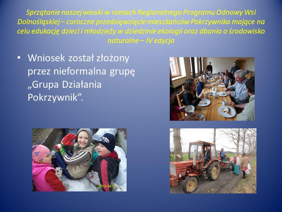 Sprzątanie naszej wioski w ramach Regionalnego Programu Odnowy Wsi Dolnośląskiej – coroczne przedsięwzięcie mieszkańców Pokrzywnika mające na celu edu