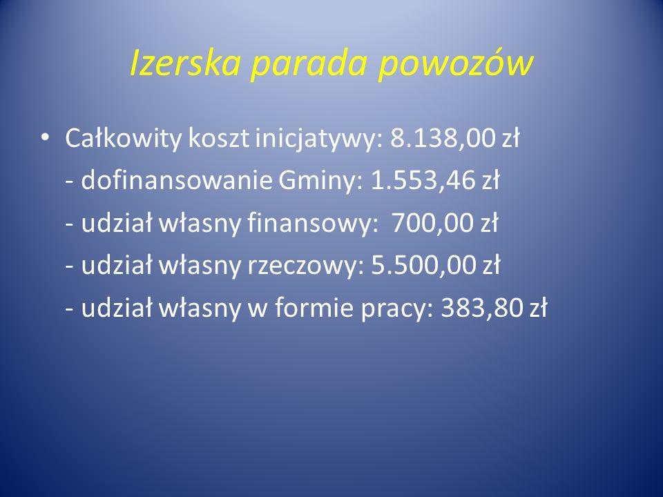 Izerska parada powozów Całkowity koszt inicjatywy: 8.138,00 zł - dofinansowanie Gminy: 1.553,46 zł - udział własny finansowy: 700,00 zł - udział własn