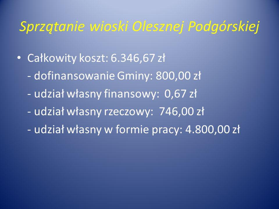 Sprzątanie wioski Olesznej Podgórskiej Całkowity koszt: 6.346,67 zł - dofinansowanie Gminy: 800,00 zł - udział własny finansowy: 0,67 zł - udział własny rzeczowy: 746,00 zł - udział własny w formie pracy: 4.800,00 zł