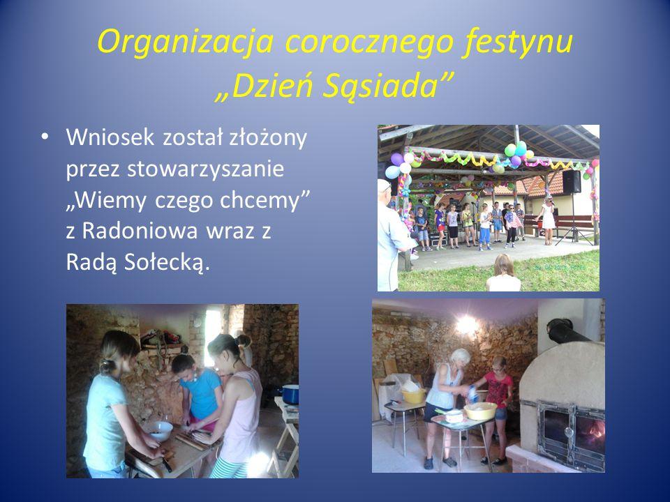 """Organizacja corocznego festynu """"Dzień Sąsiada"""" Wniosek został złożony przez stowarzyszanie """"Wiemy czego chcemy"""" z Radoniowa wraz z Radą Sołecką."""