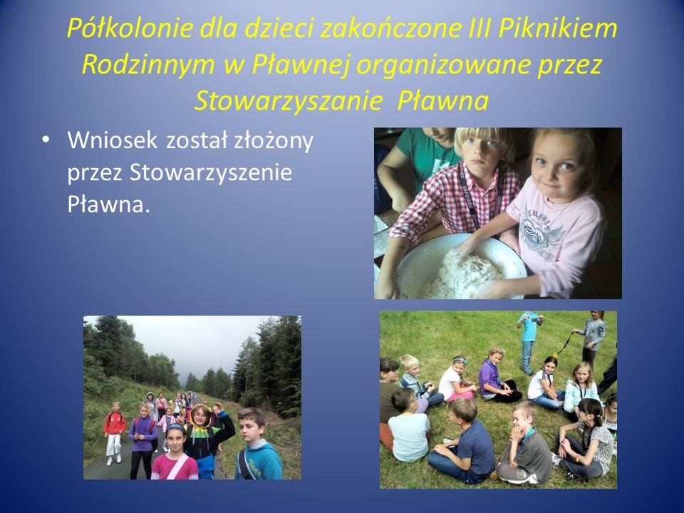 Półkolonie dla dzieci zakończone III Piknikiem Rodzinnym w Pławnej organizowane przez Stowarzyszanie Pławna Wniosek został złożony przez Stowarzyszenie Pławna.