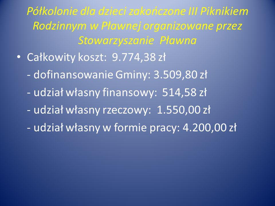 Półkolonie dla dzieci zakończone III Piknikiem Rodzinnym w Pławnej organizowane przez Stowarzyszanie Pławna Całkowity koszt: 9.774,38 zł - dofinansowa