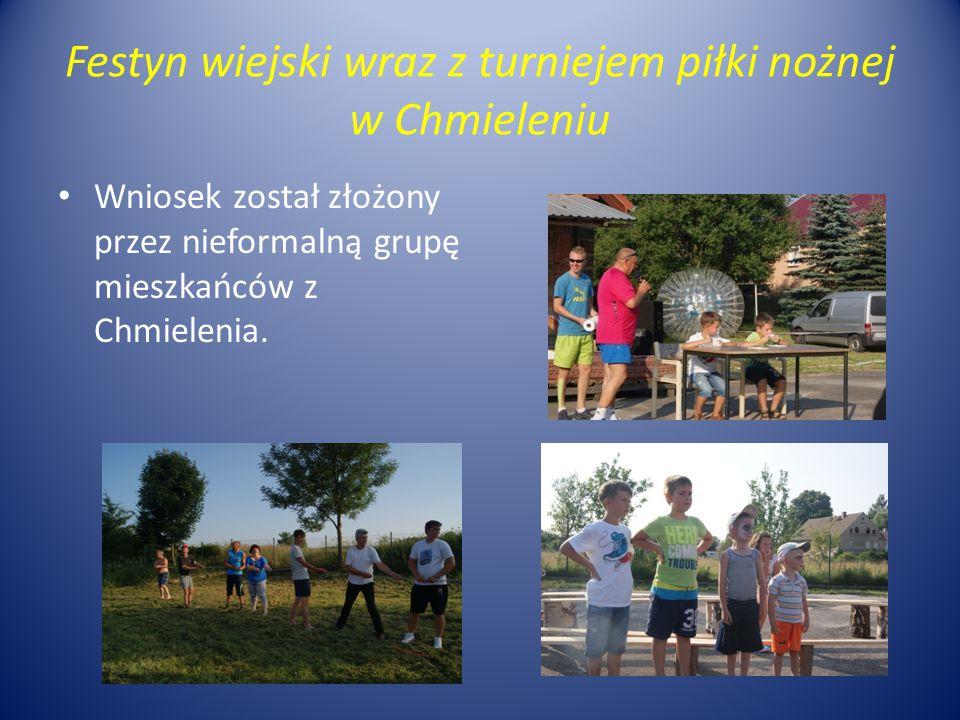 Festyn wiejski wraz z turniejem piłki nożnej w Chmieleniu Wniosek został złożony przez nieformalną grupę mieszkańców z Chmielenia.