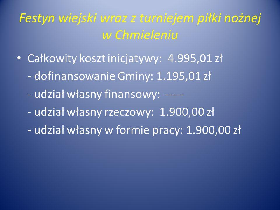 Festyn wiejski wraz z turniejem piłki nożnej w Chmieleniu Całkowity koszt inicjatywy: 4.995,01 zł - dofinansowanie Gminy: 1.195,01 zł - udział własny