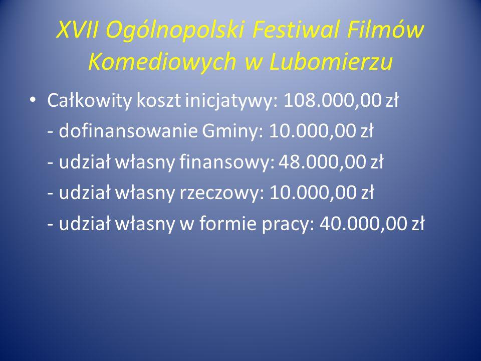XVII Ogólnopolski Festiwal Filmów Komediowych w Lubomierzu Całkowity koszt inicjatywy: 108.000,00 zł - dofinansowanie Gminy: 10.000,00 zł - udział własny finansowy: 48.000,00 zł - udział własny rzeczowy: 10.000,00 zł - udział własny w formie pracy: 40.000,00 zł
