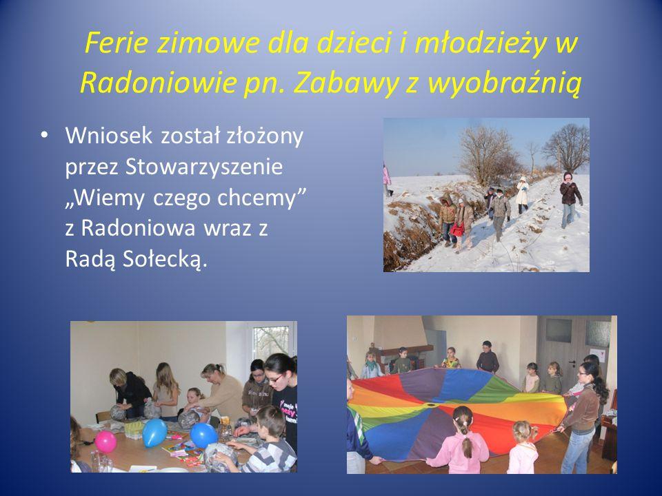 """Ferie zimowe dla dzieci i młodzieży w Radoniowie pn. Zabawy z wyobraźnią Wniosek został złożony przez Stowarzyszenie """"Wiemy czego chcemy"""" z Radoniowa"""
