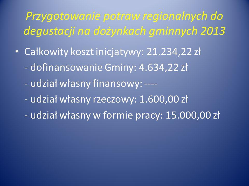 Przygotowanie potraw regionalnych do degustacji na dożynkach gminnych 2013 Całkowity koszt inicjatywy: 21.234,22 zł - dofinansowanie Gminy: 4.634,22 zł - udział własny finansowy: ---- - udział własny rzeczowy: 1.600,00 zł - udział własny w formie pracy: 15.000,00 zł