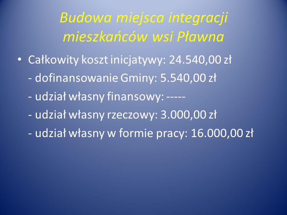 Budowa miejsca integracji mieszkańców wsi Pławna Całkowity koszt inicjatywy: 24.540,00 zł - dofinansowanie Gminy: 5.540,00 zł - udział własny finansowy: ----- - udział własny rzeczowy: 3.000,00 zł - udział własny w formie pracy: 16.000,00 zł