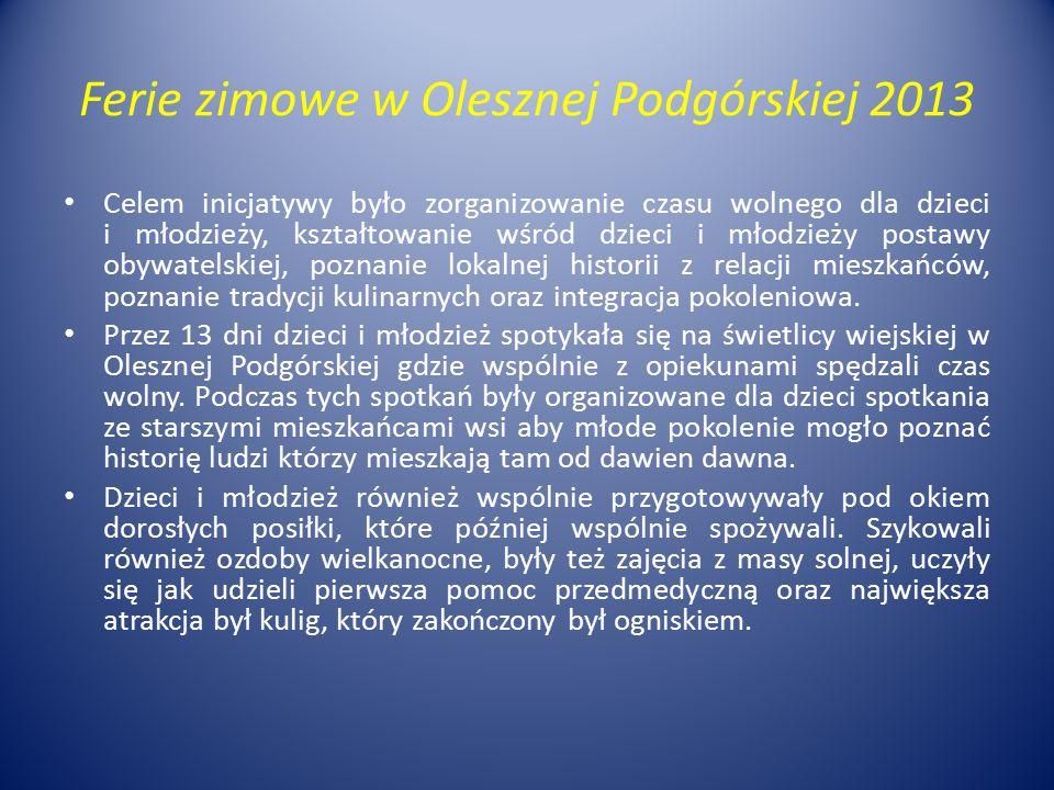 Ferie zimowe w Olesznej Podgórskiej 2013 Celem inicjatywy było zorganizowanie czasu wolnego dla dzieci i młodzieży, kształtowanie wśród dzieci i młodz