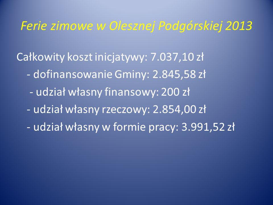 Ferie zimowe w Olesznej Podgórskiej 2013 Całkowity koszt inicjatywy: 7.037,10 zł - dofinansowanie Gminy: 2.845,58 zł - udział własny finansowy: 200 zł - udział własny rzeczowy: 2.854,00 zł - udział własny w formie pracy: 3.991,52 zł