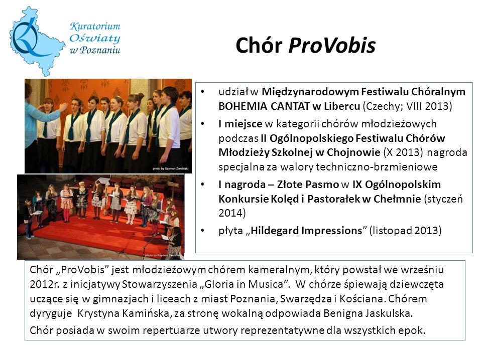 """Chór ProVobis Chór """"ProVobis"""" jest młodzieżowym chórem kameralnym, który powstał we wrześniu 2012r. z inicjatywy Stowarzyszenia """"Gloria in Musica"""". W"""