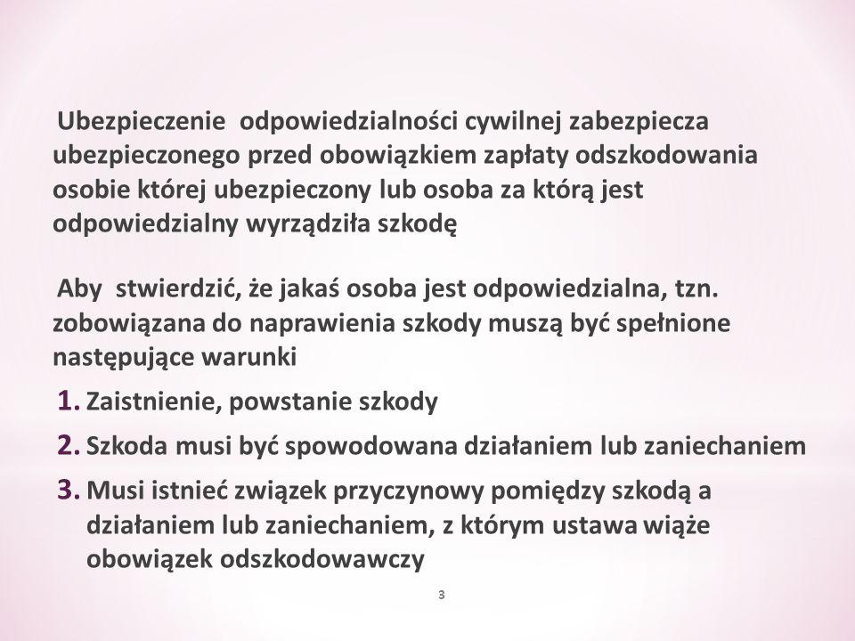 Minimalna suma gwarancyjna ubezpieczenia OC, w odniesieniu do jednego zdarzenia oraz wszystkich zdarzeń, których skutki są objęte umową ubezpieczenia OC, wynosi równowartość w złotych 50 000 euro Kwota ta ustalana jest przy zastosowaniu kursu średniego euro, ogłoszonego przez Narodowy Bank Polski po raz pierwszy w roku, w którym umowa ubezpieczenia OC została zawarta 124