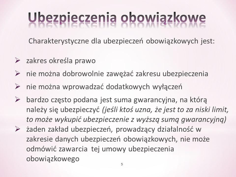 Obowiązek ubezpieczenia powstaje nie później niż w dniu poprzedzającym dzień rozpoczęcia wykonywania zawodu radcy prawnego Minimalna suma gwarancyjna ubezpieczenia, w odniesieniu do jednego zdarzenia, którego skutki są objęte umową ubezpieczenia OC, wynosi równowartość w złotych 50 000 euro Kwota ta jest ustalana przy zastosowaniu kursu średniego euro ogłoszonego przez Narodowy Bank Polski po raz pierwszy w roku, w którym umowa ubezpieczenia została zawarta 66