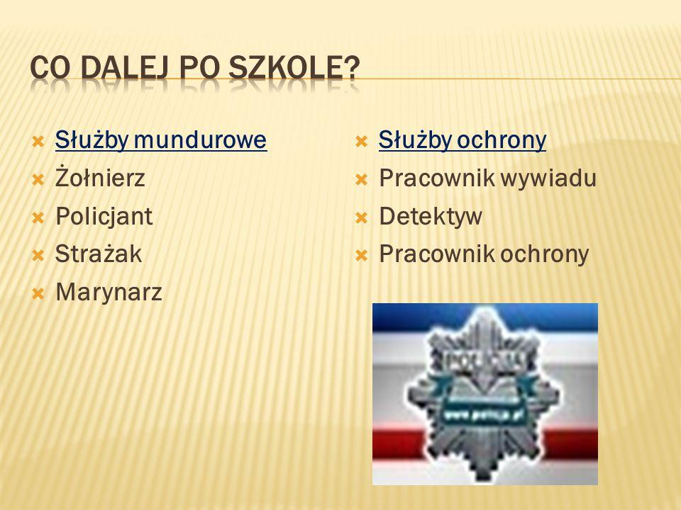  Służby mundurowe  Żołnierz  Policjant  Strażak  Marynarz  Służby ochrony  Pracownik wywiadu  Detektyw  Pracownik ochrony