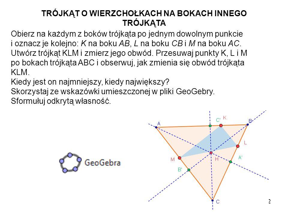 13 Czy zauważyłeś, że trójkąt ostrokątny KLM ma najmniejszy obwód w sytuacji, gdy jego wierzchołki K, L i M są spodkami wysokości tego trójkąta.