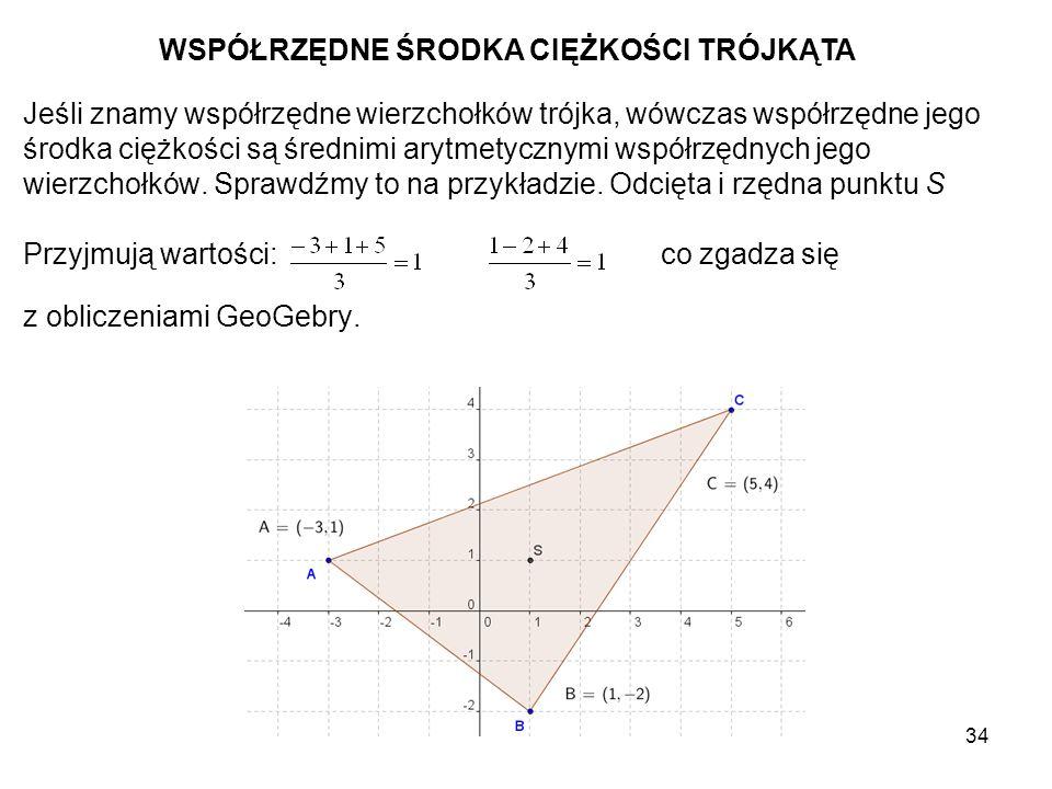 35 TWIERDZENIA Środkowe dowolnego trójkąta przecinają się w jednym punkcie, który jest środkiem ciężkości trójkąta.
