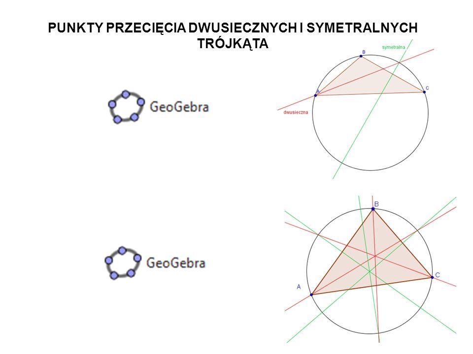 40 Skonstruuj trójkąt, którego wierzchołkami są punkty przecięcia się symetralnych i dwusiecznych trójkąta ABC.