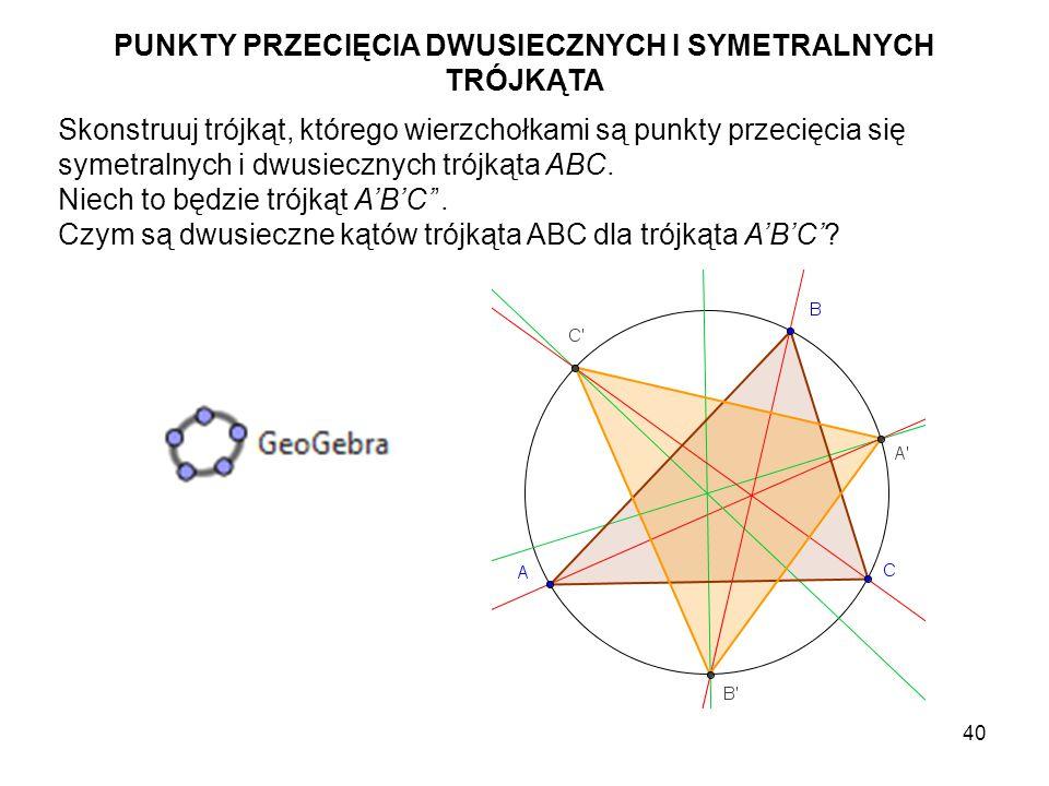 41 Rozważ trójkąt A''B''C'', którego wierzchołki są punktami przecięcia dwusiecznych trójkąta ABC z bokami trójkąta A'B'C'.