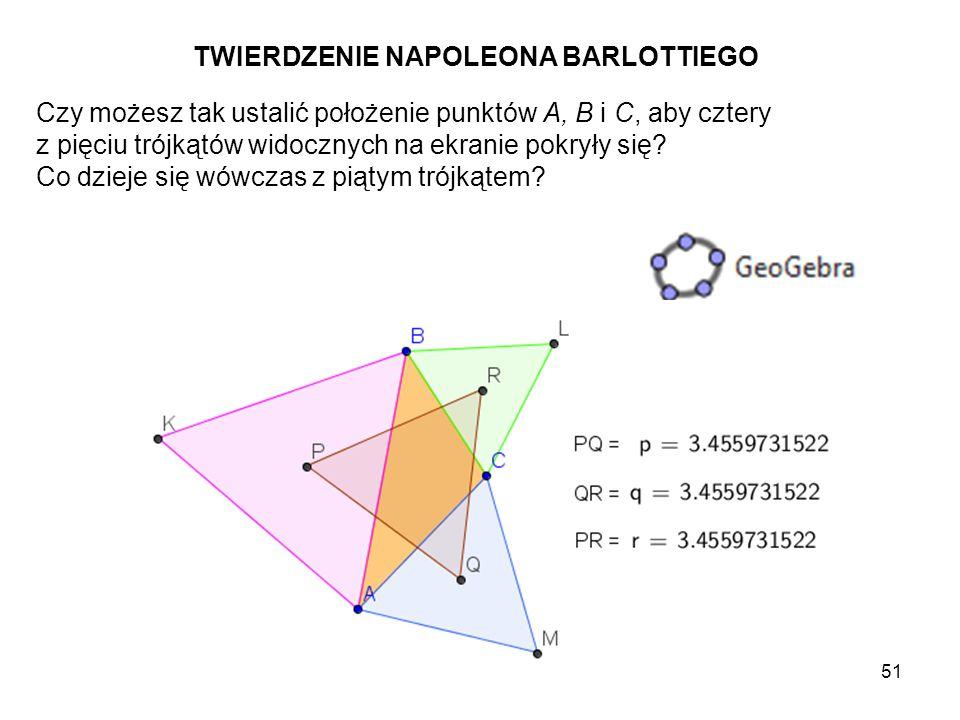 """52 Czy dostrzeżona przez Ciebie własność pozostaje prawdziwa, gdy trójkąty BCL, ABK i ACM będą skonstruowane """"do wnętrza trójkąta bazowego ABC."""