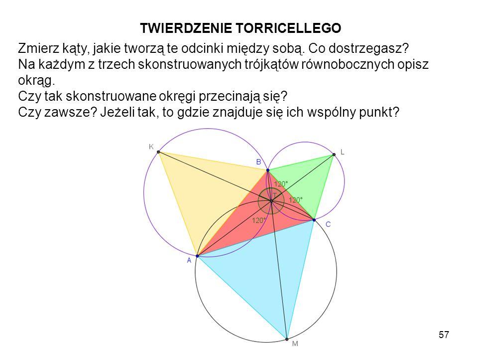 58 Rozważ odcinek łączący środki dwóch skonstruowanych okręgów opisanych i odcinek łączący wierzchołek nowo powstałego trójkąta równobocznego, na którym jest opisany trzeci okrąg z wierzchołkiem trójkąta ABC, który nie należy do tego trójkąta równobocznego.