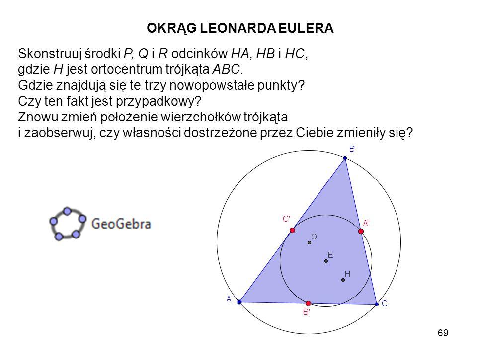 70 Zmierz promień okręgu opisanego (np.OA) i promień okręgu o środku E (np.