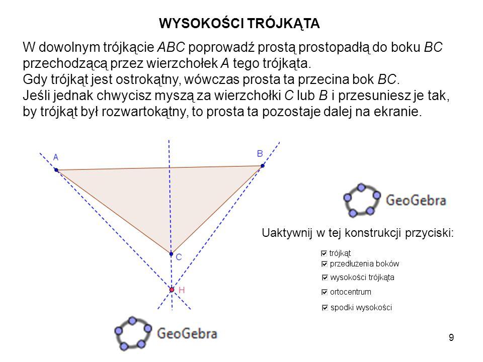 10 Niech punkt A' będzie punktem wspólnym tej prostej i prostej zawierającej bok BC trójkąta.