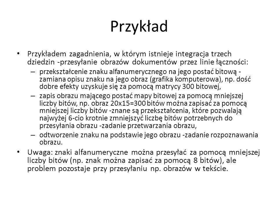 Przykład Przykładem zagadnienia, w którym istnieje integracja trzech dziedzin -przesyłanie obrazów dokumentów przez linie łączności: – przekształcenie