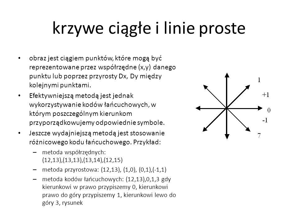 krzywe ciągłe i linie proste obraz jest ciągiem punktów, które mogą być reprezentowane przez współrzędne (x,y) danego punktu lub poprzez przyrosty Dx,