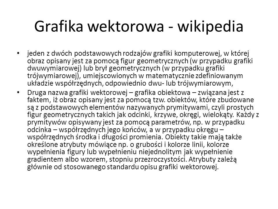 Grafika wektorowa - wikipedia jeden z dwóch podstawowych rodzajów grafiki komputerowej, w której obraz opisany jest za pomocą figur geometrycznych (w