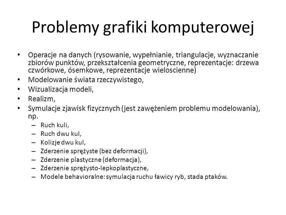 Problemy grafiki komputerowej Operacje na danych (rysowanie, wypełnianie, triangulacje, wyznaczanie zbiorów punktów, przekształcenia geometryczne, rep