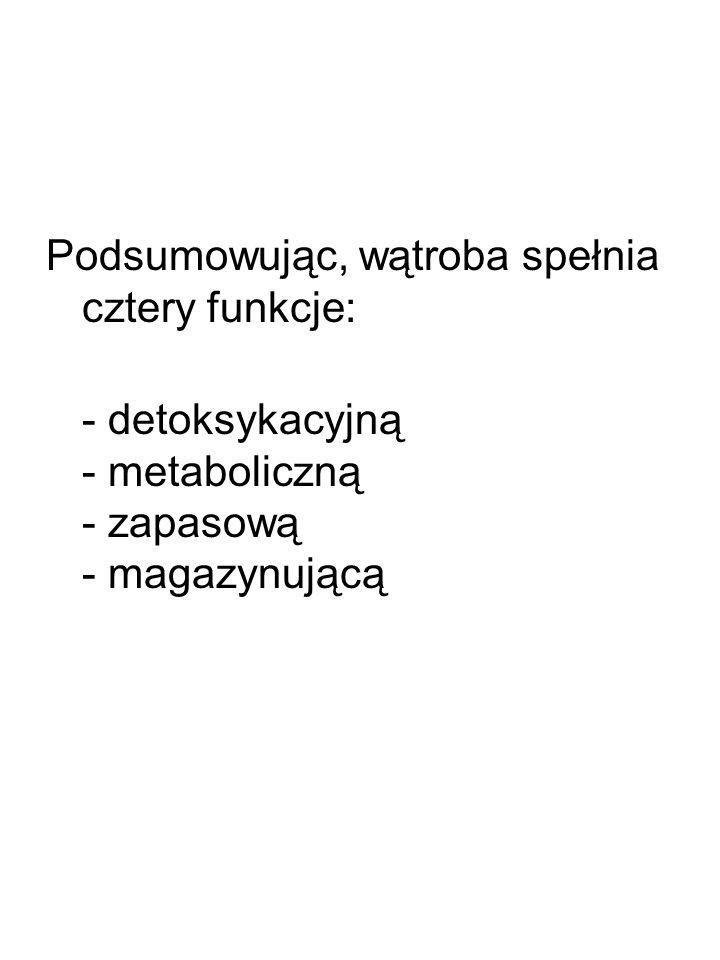 Podsumowując, wątroba spełnia cztery funkcje: - detoksykacyjną - metaboliczną - zapasową - magazynującą