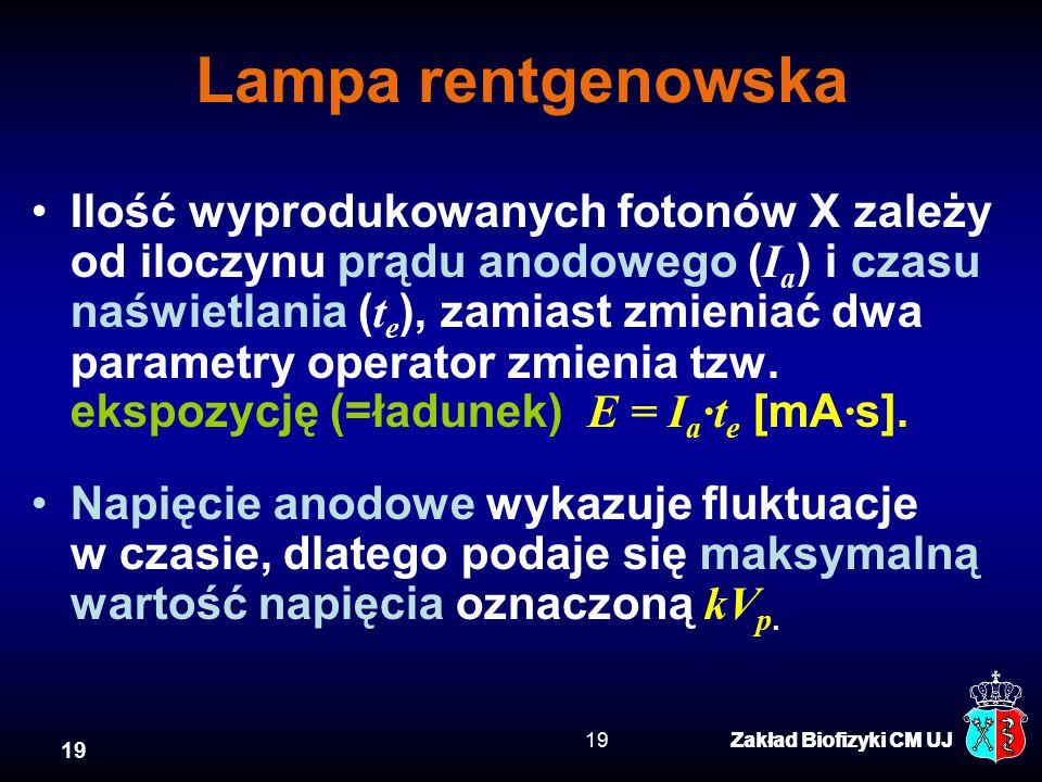 19 Zakład Biofizyki CM UJ19Zakład Biofizyki CM UJ Lampa rentgenowska Ilość wyprodukowanych fotonów X zależy od iloczynu prądu anodowego ( I a ) i czasu naświetlania ( t e ), zamiast zmieniać dwa parametry operator zmienia tzw.
