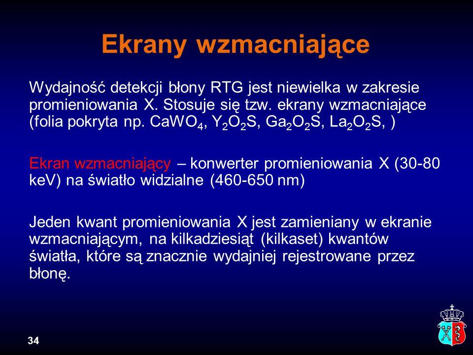 34 Ekrany wzmacniające Wydajność detekcji błony RTG jest niewielka w zakresie promieniowania X. Stosuje się tzw. ekrany wzmacniające (folia pokryta np