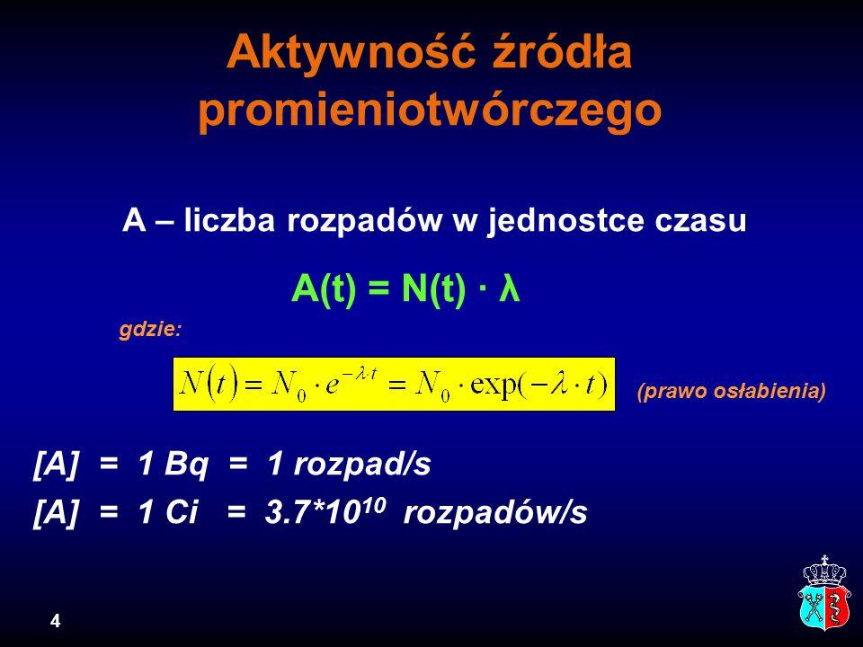 4 Aktywność źródła promieniotwórczego A – liczba rozpadów w jednostce czasu A(t) = N(t) · λ gdzie: (prawo osłabienia) [A] = 1 Bq = 1 rozpad/s [A] = 1 Ci = 3.7*10 10 rozpadów/s
