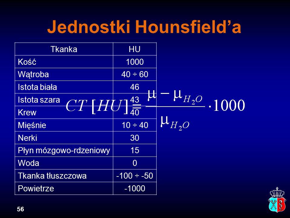 56 Jednostki Hounsfield'a TkankaHU Kość1000 Wątroba40 ÷ 60 Istota biała46 Istota szara43 Krew40 Mięśnie10 ÷ 40 Nerki30 Płyn mózgowo-rdzeniowy15 Woda0