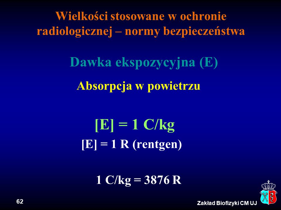 62 Zakład Biofizyki CM UJ Wielkości stosowane w ochronie radiologicznej – normy bezpieczeństwa Dawka ekspozycyjna (E) Absorpcja w powietrzu [E] = 1 C/kg [E] = 1 R (rentgen) 1 C/kg = 3876 R