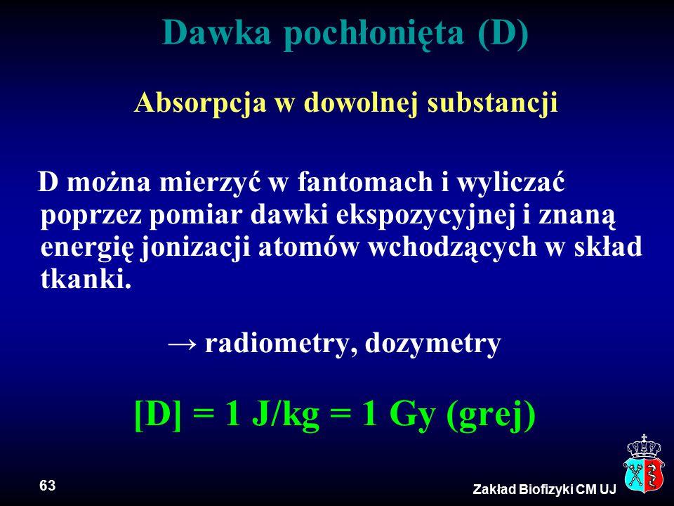 63 Zakład Biofizyki CM UJ Dawka pochłonięta (D) Absorpcja w dowolnej substancji D można mierzyć w fantomach i wyliczać poprzez pomiar dawki ekspozycyjnej i znaną energię jonizacji atomów wchodzących w skład tkanki.