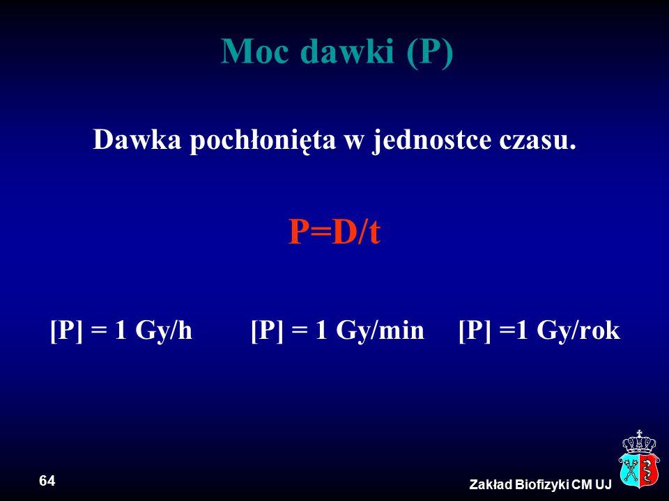 64 Zakład Biofizyki CM UJ Moc dawki (P) Dawka pochłonięta w jednostce czasu. P=D/t [P] = 1 Gy/h[P] = 1 Gy/min [P] =1 Gy/rok