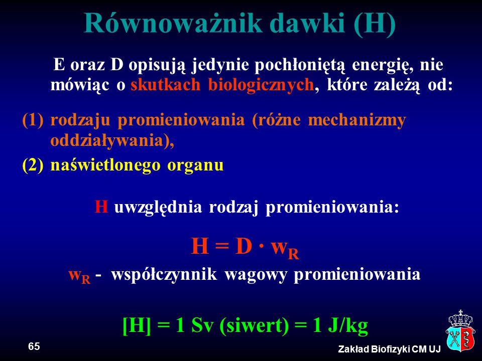 65 Zakład Biofizyki CM UJ E oraz D opisują jedynie pochłoniętą energię, nie mówiąc o skutkach biologicznych, które zależą od: (1)rodzaju promieniowani