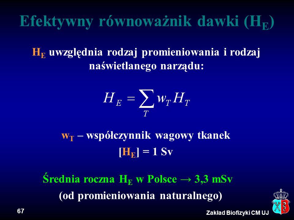 67 Zakład Biofizyki CM UJ Efektywny równoważnik dawki (H E ) H E uwzględnia rodzaj promieniowania i rodzaj naświetlanego narządu: w T – współczynnik w
