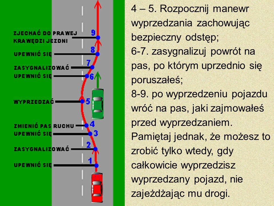 4 – 5. Rozpocznij manewr wyprzedzania zachowując bezpieczny odstęp; 6-7. zasygnalizuj powrót na pas, po którym uprzednio się poruszałeś; 8-9. po wyprz